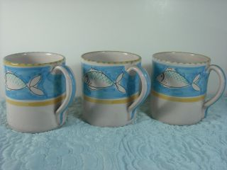 LAMAS ITALY POTTERY BARN Italian pottery FISH MUGS set of 3 blue