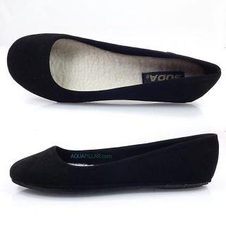 Afarfs Black Lami Round Toe Ballet Comfy Flats Faux Fur Lining Inside
