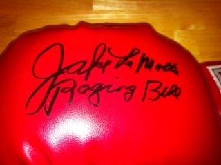Jake LaMotta Signed Autographed Boxing Glove JSA HOF See Raging Bull