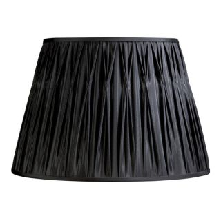 New 18 in Wide Pinch Pleat Lamp Shade Black Faux Silk Fabric Laura