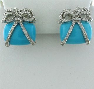 Estate 18K White Gold Diamond Turquoise Bow Earrings