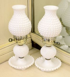 Vintage FENTON HOBNAIL HURRICANE LAMPS, Electric White Milk Glass Set