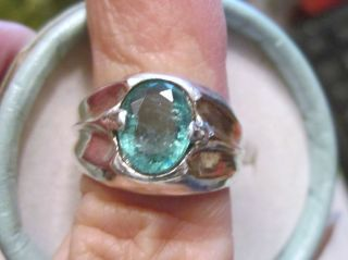 Mens 2 Ct Grass Green Emerald Sterling Silver Ring