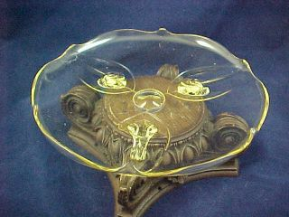 Antique Lancaster Glass Landrum Footed Cake Plate Bowl Yellow Elegant