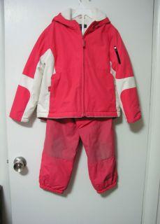 Lands End Girls Pink Winter Ski Snow Hooded Coat 6X 7 Pants 6 Snowsuit