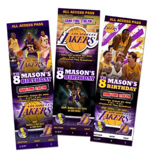 La Lakers Birthday Party Invitation Ticket Custom Card Los Angeles