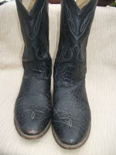 Tony Lamas Black Crackled Hide Leather Cowboy Western Boots Sz 10 5 EE