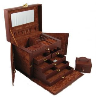 Large Brown Leather Jewelry Box Case Storage Locked with Key KD2