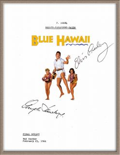 Elvis Presley Angela Lansbury Signed X2 Blue Hawaii Movie Musical