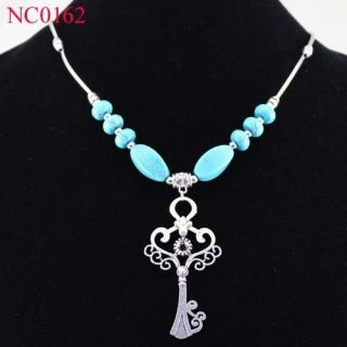 Fascinating Lantern Tibetan Silver Turquoise Pendant Necklace NC0162