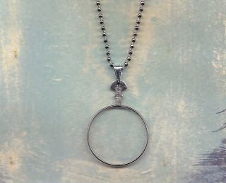 Small Size Vintage Monocle Type Optical Lens Necklace Silver Chain
