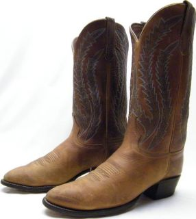 Mens Larry Mahan Brown Oiled Leather Cowboy Western Boots Sz 9D 9 D