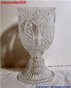 Beautiful Large Cut or Pressed Clear Glass Vase 9 ¾ H