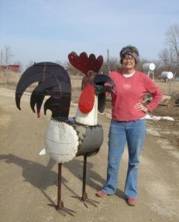 64 Large Recycled Metal Rooster Tin Art Chicken Lawn Ornament
