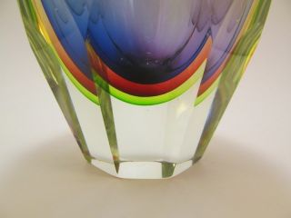 Large Seguso Italian Murano Sommerso Faceted 5 Color Art Glass Vase