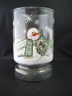 Large Glass Vase Planter Hand Painted Winter Scene
