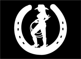 Cowgirl with lasso inside Horseshoe vinyl car truck window decal