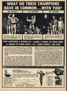 1968 Joe Weider Ad Larry Scott Dave Draper Reg Lewis
