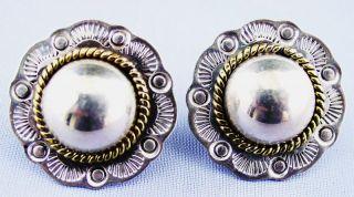 Vintage Sterling 925 Earrings Mexico Western Rope Laton