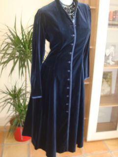 Vintage Stunning Laura Ashley Midnight Blue Velvet Coat Dress Riding