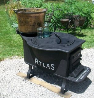 CAST IRON CANNING WOOD STOVE ATLAS LAURELTON FOUNDRY CO LAURELTON PA