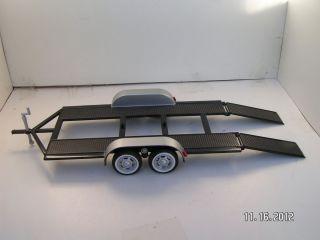 24 Black Modified Dirt Late Model Race Car Open Car Trailer Motor Max