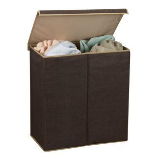 Double Hamper Laundry Sorter Clothe Hamper w Magnetic Lid Closure Home