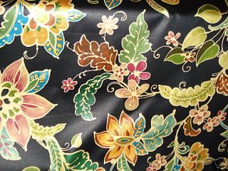 Black Green Gold Red Copper Blue Green Floral Fabric