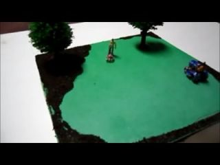 Animated HO Scale Lawn Care Diorama