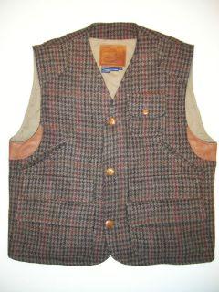 Vintage Polo Ralph Lauren Harris Tweed Hunting Vest Leather Trim