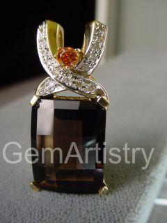 LAURA RAMSEY 14K Gold Faceted Smoky Quartz Diamond Slide Pendant LARGE