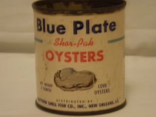 Vintage Blue Plate Oyster Tin 8 oz New Orleans Louisiana
