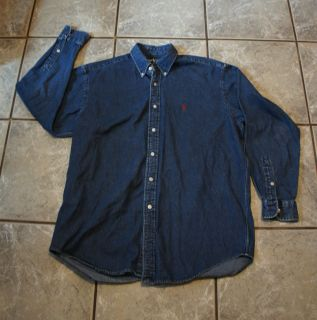 Ralph Lauren Mens Blue Denim Signature Long Sleeve Button Up Shirt SZ