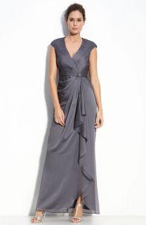 Adrianna Papell Faux Wrap Chiffon Gown Sz 4