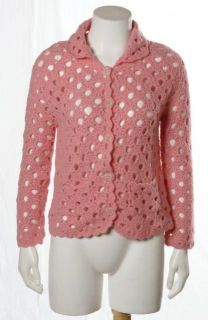 Laurie B Salmon Pink Open Crochet Wool Angora Knit Cardigan Sweater Sz