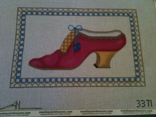 Amanda Lawford Needlepoint Petit Point Handpainted Fuschia Shoe Canvas