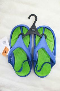 NWT Crocs Jibbitz Green Blue Flip Flop Shoe Boy Girl Toddler Size XS 6