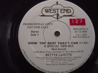 Bettye Lavette 12 Single Doin The Best That I Can on Westend 22113
