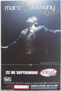 Marc Anthony 2011 San Diego Concert Poster Latin Pop