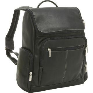 Le Donne Leather Premium VAQUETTA Leather Laptop Backpack Black