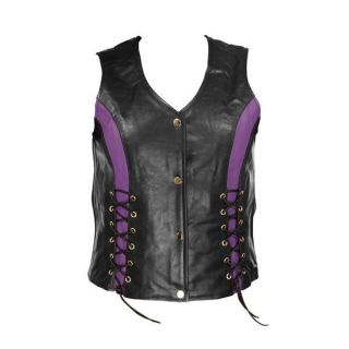 Womens Black Purple Leather Motorcycle Vest with Front Laces M