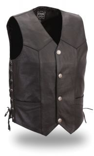 Mens Cowhide Leather Motorcycle Vest w Side Lace Buffalo Nickel Snaps