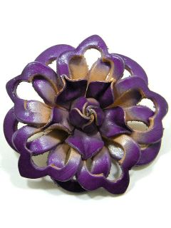 Genuine Leather Flower Brooch Pin CAD1 Violet 2 3 4 In
