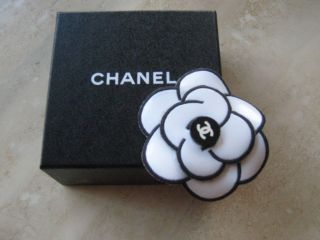 Chanel Black White Leather Flower Pin in Box
