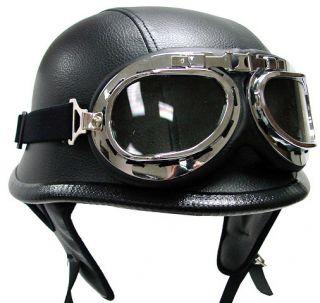 German Black Leather Motorcycle Half Helmet Goggles XL