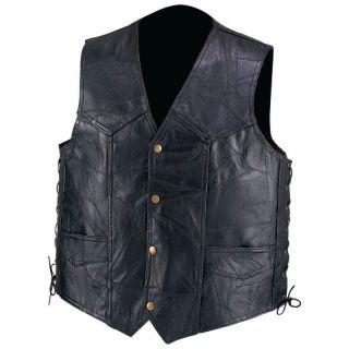 Diamond Plate TM Genuine Leather Motorcycle Vest