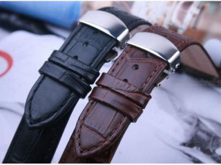 New Genuine Leather Watch Band Strap Folding Butterfly Clasp Brown