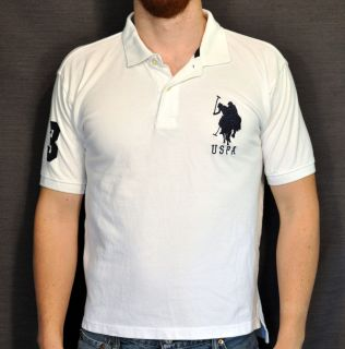 US Polo Assn. Horseman Logo White Dress Shirt Mens Golf Polo Size L