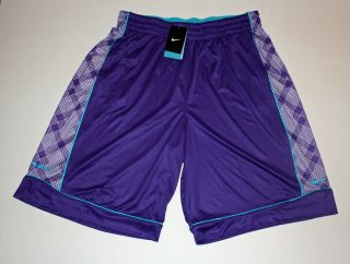 Nike Lebron James Half Print Mens Basketball Shorts Purple Teal