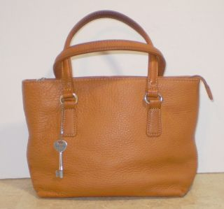 Fossil Leather Tote Style Handbag Purse Brown PEBBLED Leather